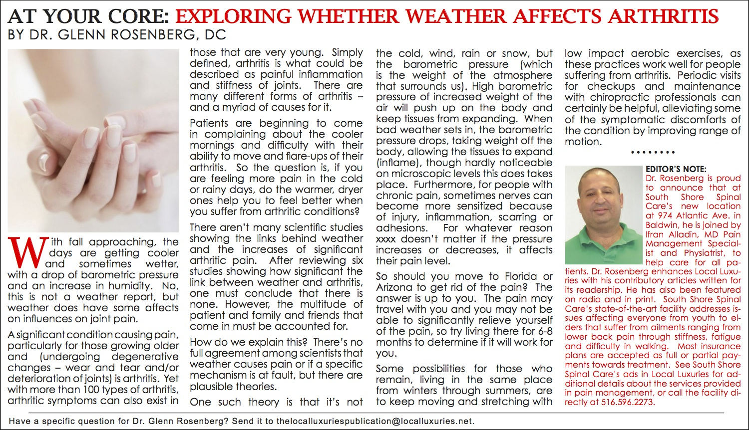 At Your Core: Exploring Whether Weather Affects Arthritis - October ...