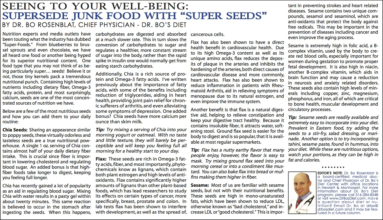 "... Well Being: Supersede Junk Food With ""Super Seeds"" - February 2014"