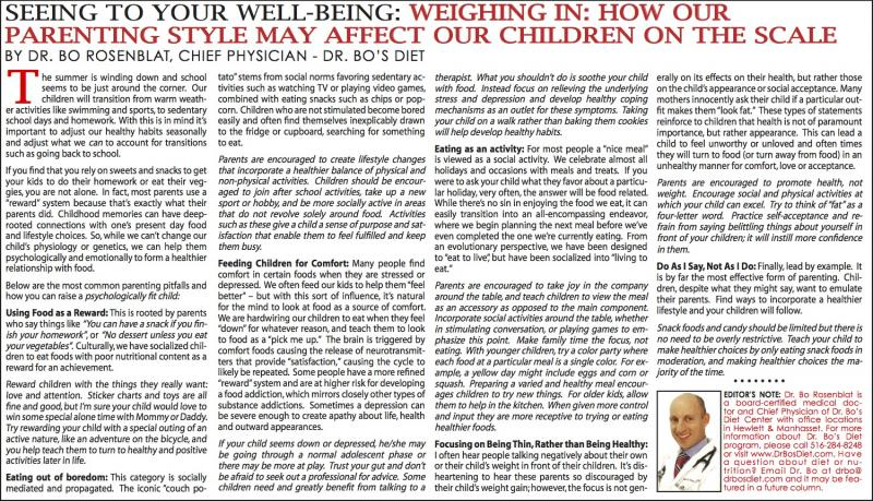 Our Parenting Style May Affect Our Children On The Scale - August 2013