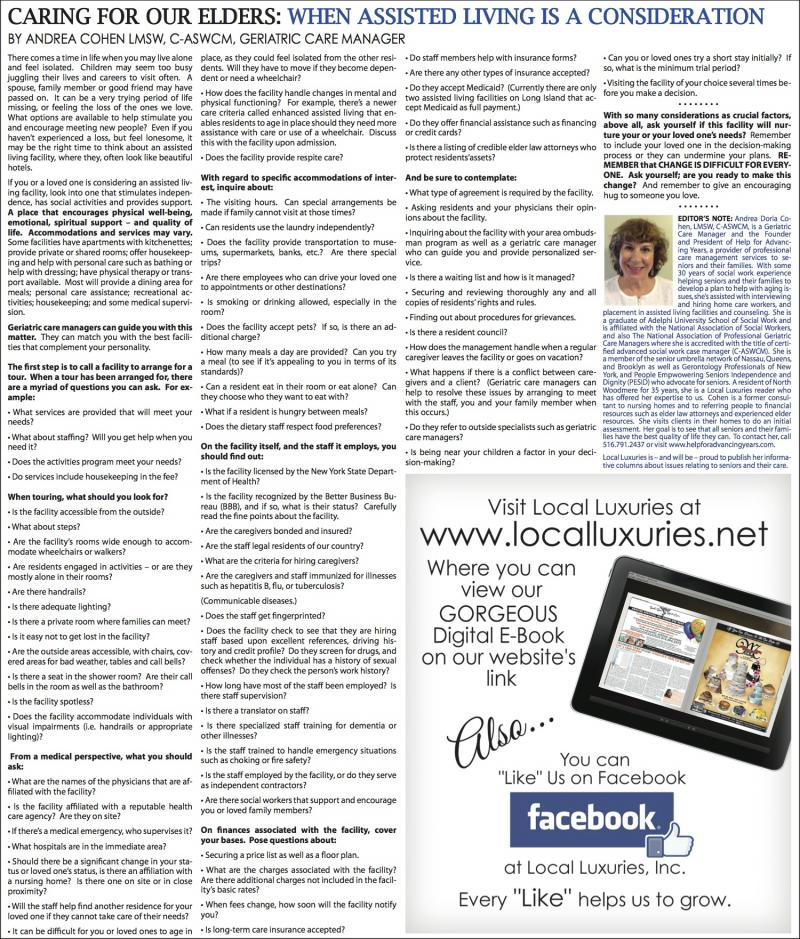 Your Elders: When Assisted Living Is A Consideration - December 2013