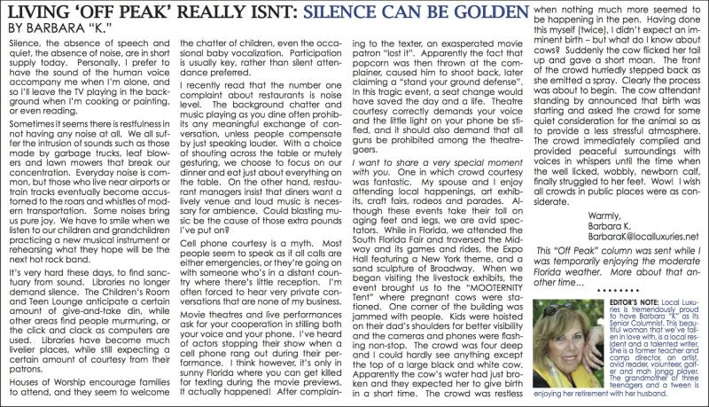 Living Off-Peak Really Isn't : Silence Can Be Golden - February 2014